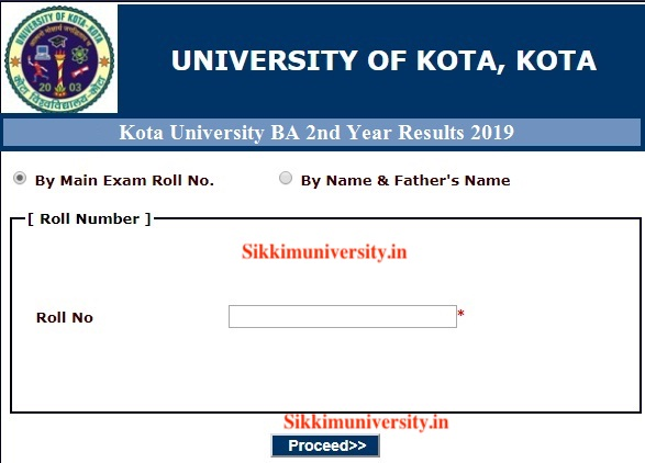 Kota University BA Final year Name Wise Result 2020 Regular and Private 2