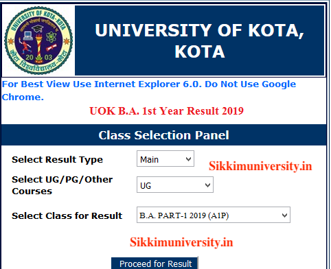University of Kota 1st, 2nd, 3rd Year Result 2020 Name Wise/Roll No. Wise 2