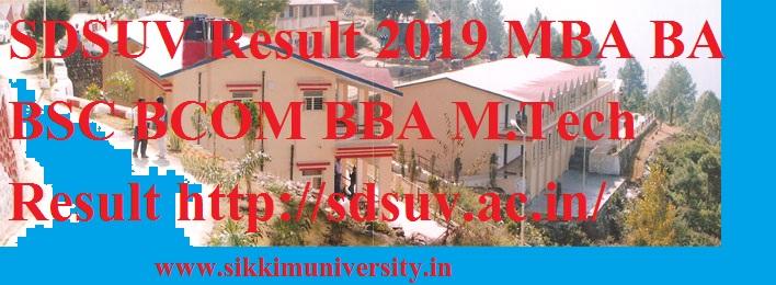SDSUV Result 2019 MBA BA BSC BCOM BBA M.Tech Result http://sdsuv.ac.in/ 1