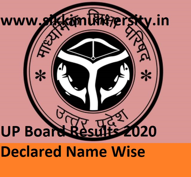 UP Board Results 2020 Declared Name Wise/Roll No.Wise at Upresults.nic.in 2