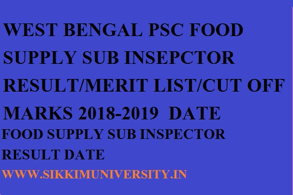 WBPSC 957 Food Supply S.I Result 2019 WB Food Sub Inspector Merit List/Cut Off 1