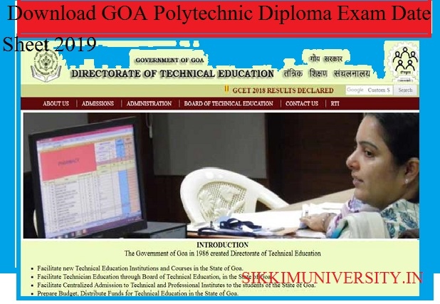 DTE GOA Time Table 2020 - Download GOA Polytechnic Diploma Exam Date Sheet 2020 1