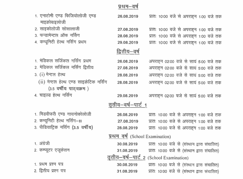 UP Nursing Council Scheme/Date Sheet 1, 2, 3 Year GNM ANM 2019 Time Table 4