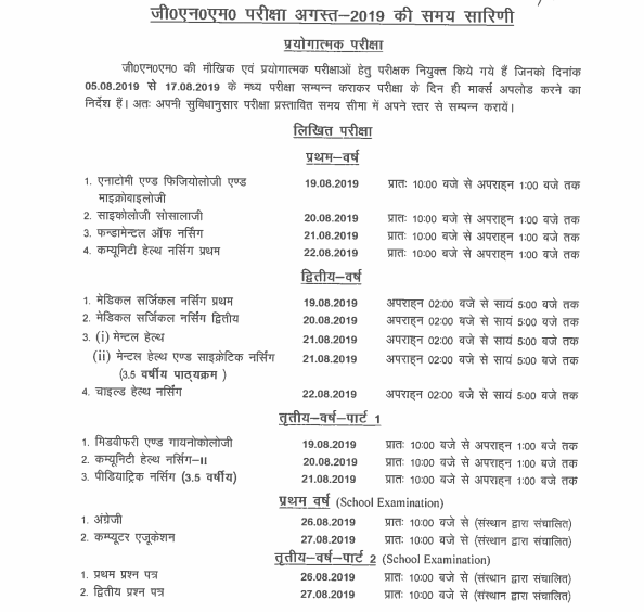 UP Nursing Council Scheme/Date Sheet 1, 2, 3 Year GNM ANM 2019 Time Table 6
