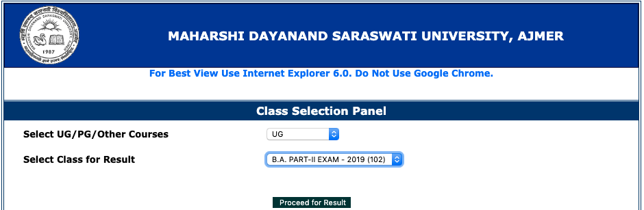 MDSU Ajmer Results 2019 BA 1:2:3 year Download