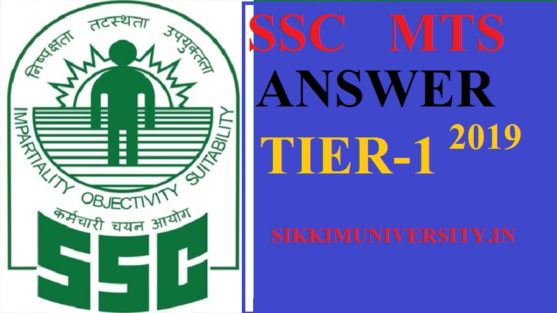 SSC MTS Paper I Answer Key 2019 (Released) Multi Tasking Staff Solutions Answer Key 2019 1