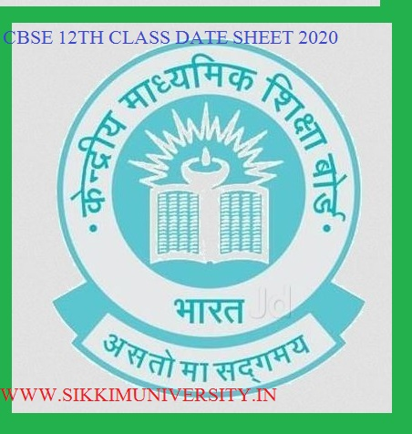 CBSE 12th Exam Time Table 2020 - CBSE Board XIIth Exam Date Sheet Pdf 1