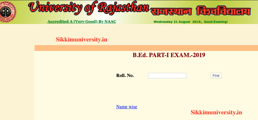 Rajasthan University BED 2nd & Ist Year Result 2019