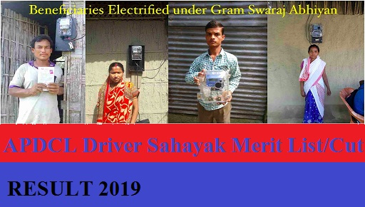 APDCL 1895 Office-cum-Field Assistant Result 2019 - APDCL Driver Sahayak Merit List/Cut Off Marks at apdcl.org 1