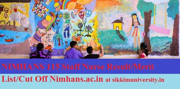 NIMHANS Nursing Officer Results 2019 - NIMHANS 115 Staff Nurse Result/Merit List/Cut Off Nimhans.ac.in 1