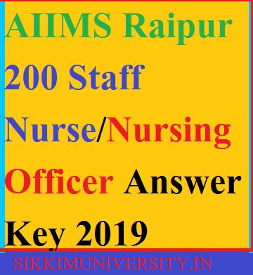 AIIMS Raipur Staff Nurse/Nursing Answer Key 2019 Cut Off