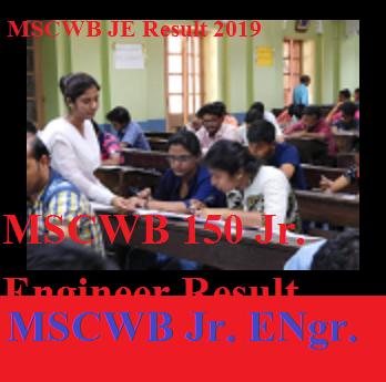 MSCWB 150 Jr. Engineer Result 2019- MSC WB Junior Engineer Result Merit List, Cut Of Marks at mscwb.org 1