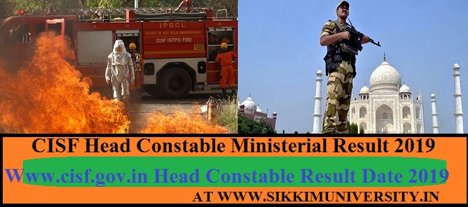 CISF 429 Head Constable Ministerial Result 2019 HC PST