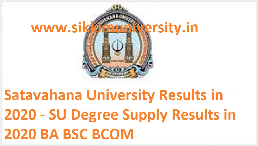 Satavahana University Results 2020 - SU Degree Supple Results 2020 BA BSC BCOM 1