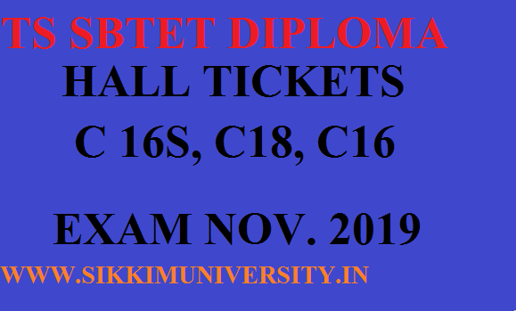 TS SBTET Diploma Admit Cards November 2019 Download for ( C16S, C18, C16) 1