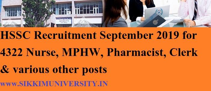 HSSC Recruitment September 2019 for 4322 Nurse, MPHW, Pharmacist, Clerk & various other posts 1