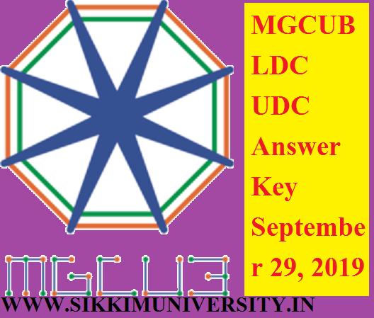 MGCUB LDC UDC Answer Key September 29, 2019 - MGCUB UDC LDC (Clerk) Exam Answer Key PDF mgcub.ac.in 1