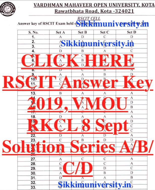 RSCIT Exam 8th sep 2018 answer key PDF