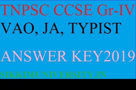TNPSC 6491 CCSE Gr-IV Answer Key 2019 Download - VAO, JA, Steno-Typist Official Key Cut Off Paper Solution 1