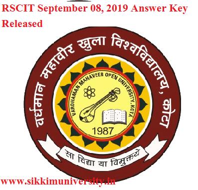 RSCIT September 08, 2019 Answer Key Released- VMOU RKCL Exam Sept. 2019 Paper Solution 1