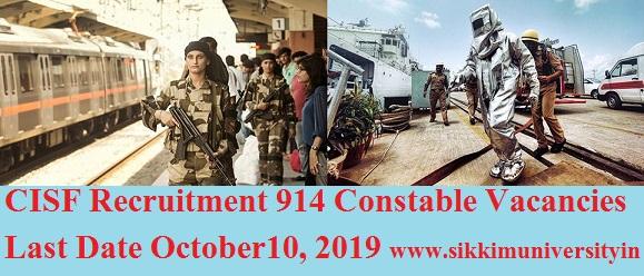 CISF Recruitment 914 Constable Vacancies Last Date October 10, 2019 - CISF Constable Tradesman Vacancies Bharti @cisf.gov.in 1