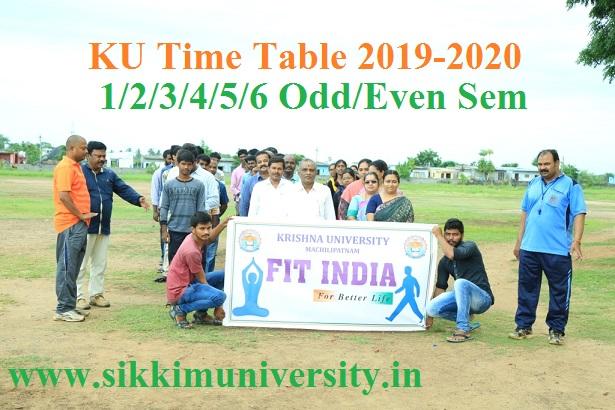 Krishna University Degree Date Sheet Oct/Nov 2019 - KU CBCS Ist, 3rd, 5th Sem & 2nd, 4th, 6th Sem Time Table 2019-20 1