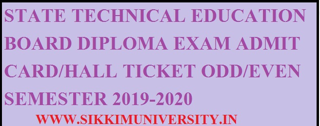 Diploma  Admit Cards 2020 Polytechnic Diploma 1, 3, 5 Sem. Exam Hall Tickets Download 1