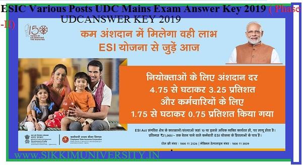 ESIC 1934 Various Posts UDC Mains Exam Answer Key 2019 ( Phase -II) 1