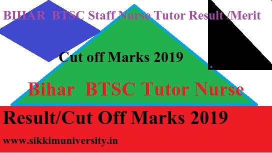 BTSC Bihar Nursing Officer Grade A Result/Merit List 2019 - Bihar  BTSC Tutor Nurse Result/Cut Off Marks 2019 1