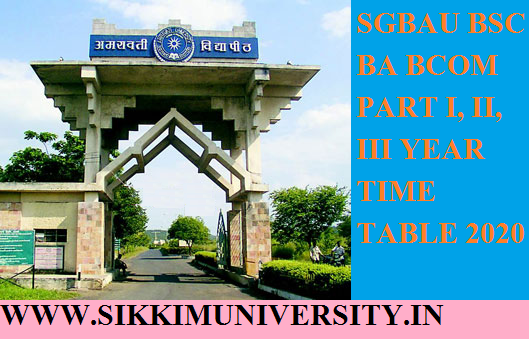 SGBAU BSC BCOM Time Table 2020 Part Ist 2nd 3rd Download 1