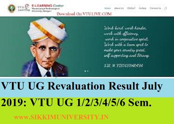 VTU UG Revaluation Result July 2020:  VTU UG 1/2/3/4/5/6 Sem. All Courses Results 2020 at results.vtu.ac.in 1