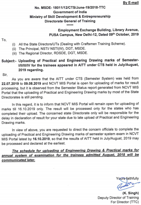 NCVT MIS ITI Result 2020 - NCVT MIS ITI State Wise 1st 2nd 3rd 4th Semesters Cut Off Merit List 2020 2