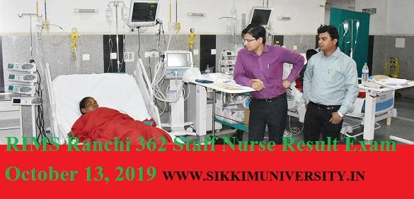 RIMS Ranchi 362 Staff Nurse Result Exam October 13, 2019- Rajendra Institute of Medical Sciences Ranchi Nursing Officer Gr.A Merit /Cut Off Marks 2019 1