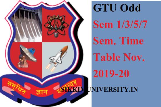 GTU Odd Sem 1/3/5/7 Sem. Time Table Nov. 2021 BE Diploma Winter Exam Routine Download 1
