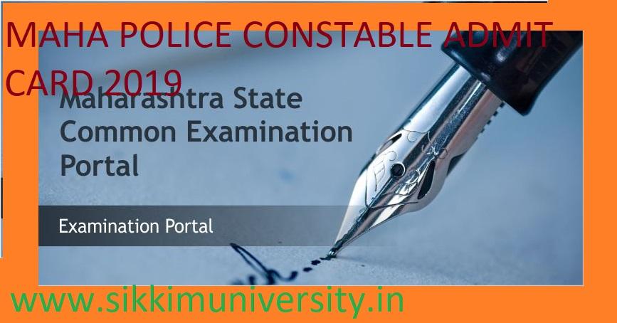 Maharashtra Police 3450 Constable Admit Card 2019 - MAHA Police Constable Exam Hall Ticket 2019 Download 1