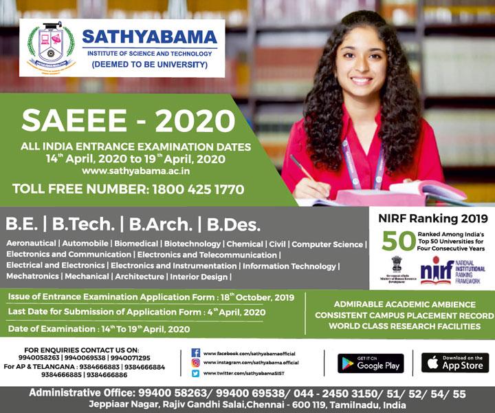 Sathyabama University Date Sheet 2020 - PHd/ PG/UG Time table 2020 1
