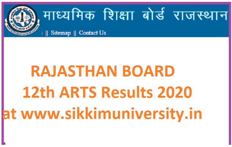 RBSE Rajasthan 12th Arts Result 2020 - Rajasthan Board 12 Class Arts Results 2020 1