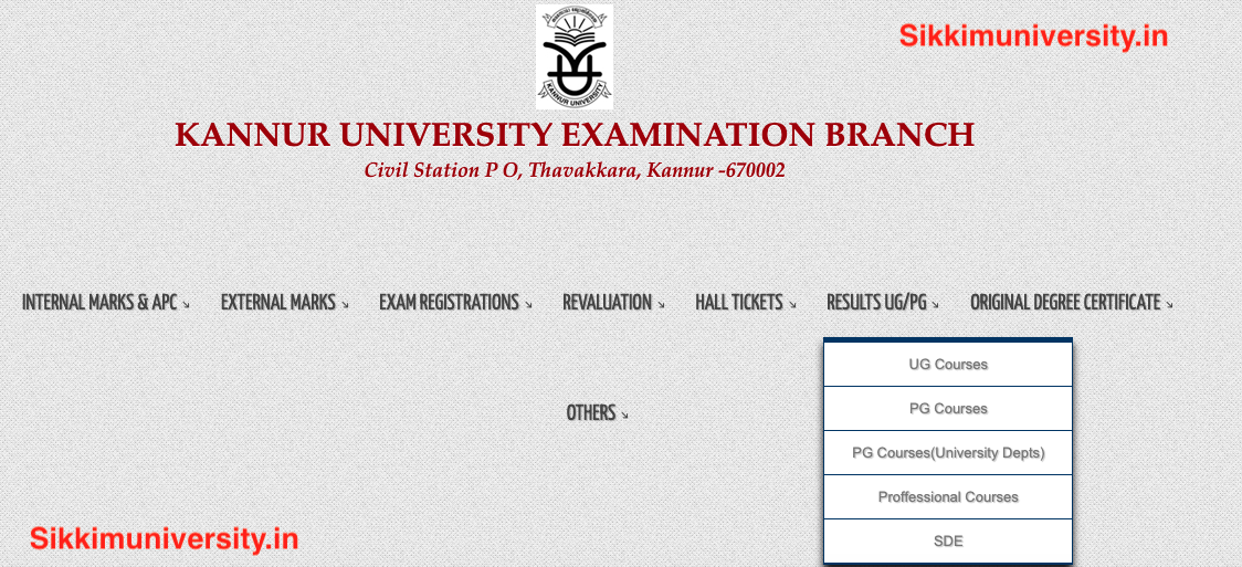 Kannur University Result 2019 UG:PG Exams