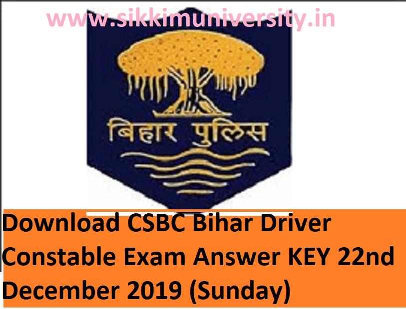 Bihar Police 89 Home Guard Constable Driver Answer Key Exam December 22, 2019 - Download CSBC Bihar Driver Constable Exam Answer Sheet 2019 PDF 1