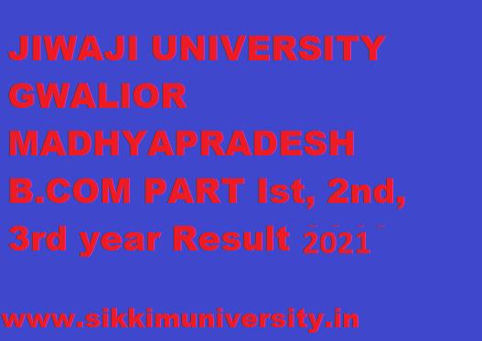Jiwaji University BCOM Ist, 2nd, 3rd Year Result 2021 1