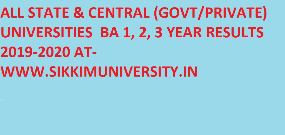 BA/BSC/BCOM Results 2020 All Universities Name Wise - Check UG Ist/ 2nd/ 3rd Year Results 2020 All State University 1