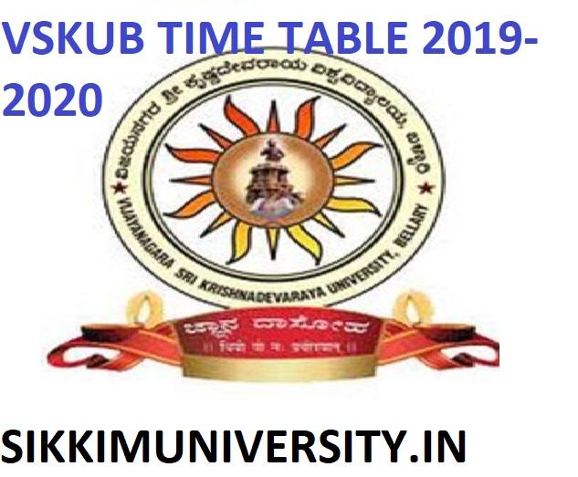VSKUB EXAM Time Table 2021 - Check VSKUB BSC BA BCOM Date Sheet 2021 PDF 1