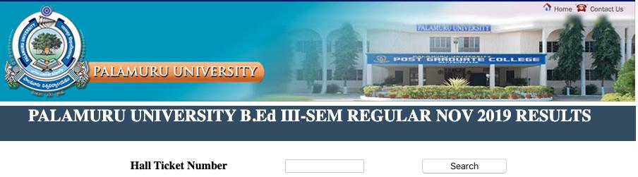 Palamuru University 1st Sem Degree Result 2020