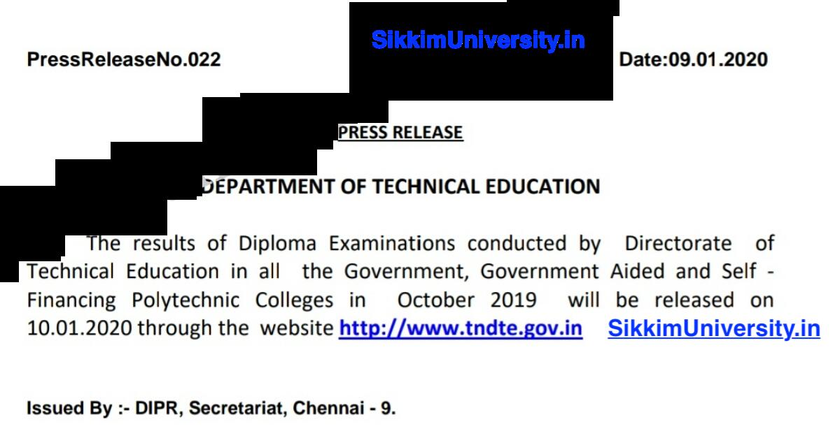 TNDTE Diploma 1st:3rd:5th Sem Oct:Nov Result 2019-2020