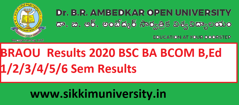BRAOU  Results 2020 BSC BA BCOM B,Ed 1/2/3/4/5/6 Sem Results at Braou.ac.in 1