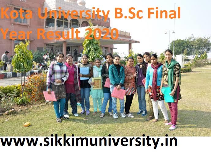 Kota University BSC 3rd Year Result 2020, University of Kota B.Sc Final year Result 2020 1