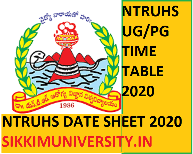 NTRUHS Exam Schedule/Date Sheet 2020 - Dr NTR University of Health Sciences Time Table 2020 Download 1
