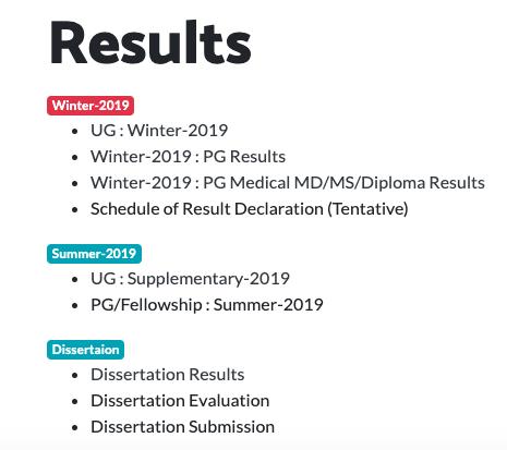 MUHS UG/PG Results 2019-20