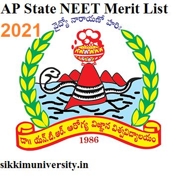 AP Released State NEET Merit List 2021 - Ntruhs.ap.nic.in MBBS BDS Merit List 2021 Category Wise 1