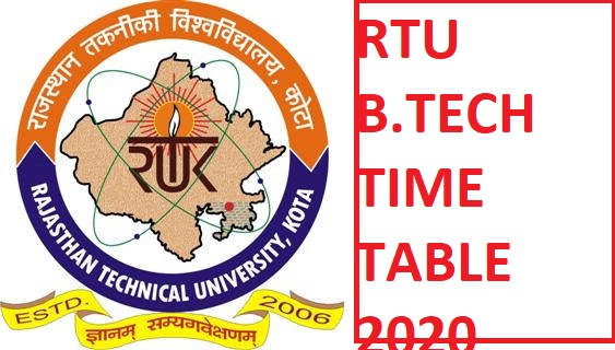 RTU B.Tech Date Sheet 2020 - RTU Kota 2, 4, 6, 8 Sem Exam Time Table 2020 Download 1